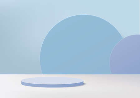 Cylinder abstract minimal scene with geometric platform. Summer background vector 3d rendering with podium. stand to show cosmetic products. Stage Showcase on pedestal modern 3d studio blue pastel