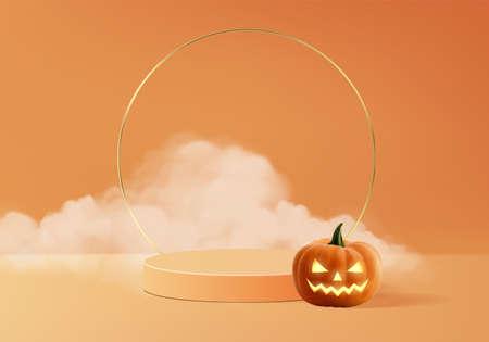 Halloween minimal scene 3d with smoke and podium platform. Halloween background vector 3d rendering with pumpkin podium. stand to show products. Stage Showcase on pedestal modern orange pumpkin pastel