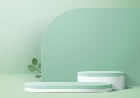 3d display product abstract minimal scene with geometric podium platform. cylinder background vector 3d rendering with podium. stand for cosmetic products. Stage showcase on pedestal 3d green studio Ilustracje wektorowe