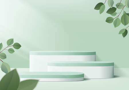 3d display product abstract minimal scene with geometric podium platform. cylinder background vector 3d rendering with podium. stand for cosmetic products. Stage showcase on pedestal 3d green studio