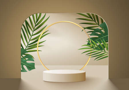 3d display product abstract minimal scene with geometric podium platform. cylinder background vector 3d rendering with podium. stand for cosmetic products. Stage showcase on pedestal 3d brown studio