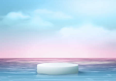 3d summer background product display podium scene with cloud platform. summer background vector 3d render on ocean, podium display in sea. stand show cosmetic product display blue sky