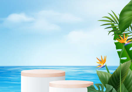 3d summer background product display podium scene with leaves. summer background vector 3d render on ocean, wood podium display in sea. stand show cosmetic product display blue sky cloud