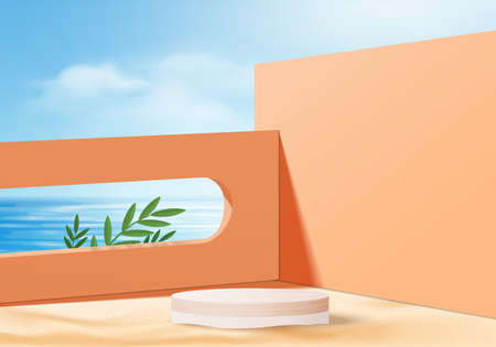 3d summer background product display platform scene with sea beach platform. sky cloud summer background vector 3d render on the ocean display. podium on sand beige cosmetic product display stand
