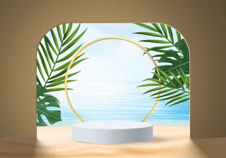 3d summer background product display platform scene with palm leaf platform. sky cloud summer background vector 3d render on the ocean display. podium on sand beige cosmetic product display stand
