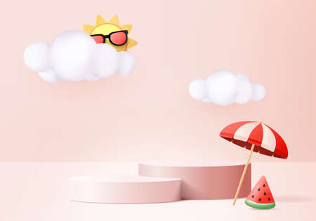 3d summer background product display podium scene with cloud platform. background summer vector 3d render with sun, watermelon on pink podium. stand show cosmetic product display pink studio