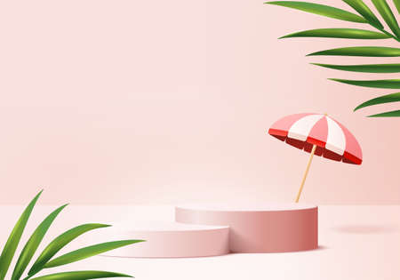 3d background products display podium scene with palm leaf summer platform. background vector 3d render with umbrella podium. stand to show cosmetic product. Stage pedestal display pink studio