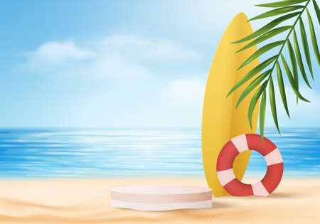 3d summer background product display platform scene with surfboard platform. sky cloud summer background vector 3d render on the ocean display. podium on sand beach cosmetic product display stand