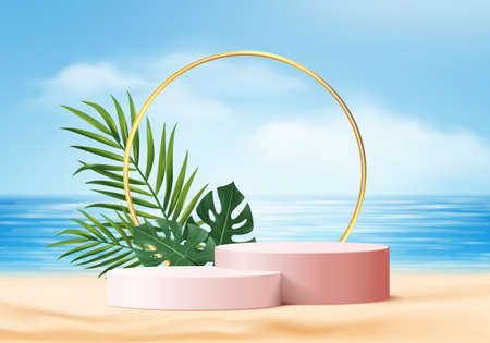 summer background 3d product display platform scene with palm leaves platform. sky cloud summer background vector 3d render on the ocean display. podium on sand beach cosmetic product display stand