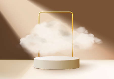 beige background vector 3d rendering with podium and minimal cloud scene, minimal product display background 3d geometric shape sky cloud brown pastel. Stage 3d render product in platform Illustration