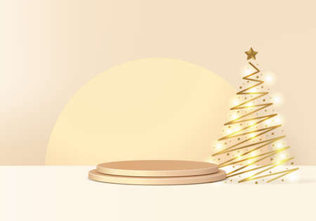 New Years minimal rendered stand 3d with gold tree and podium product. Christmas tree background vector 3d rendering with gold podium. stand to show product. Stand product showcase on christmas gold Illustration