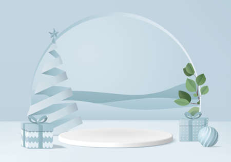 Christmas 3d minimal rendered scene with gift box and podium platform. Christmas tree background vector 3d rendering with gold podium. stand to show products. Christmas 3d showcase on pedestal blue Illustration