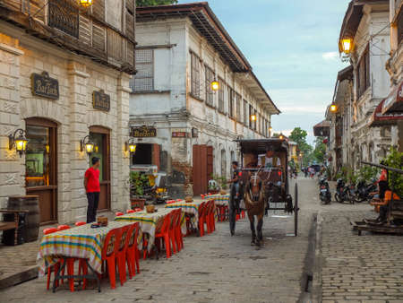 VIGAN, PHILIPPINES - JULY 25, 2015 : A restaurant in Historic Town of Vigan. Vigan is a UNESCO World Heritage Site in that it is one of the few Spanish colonial town
