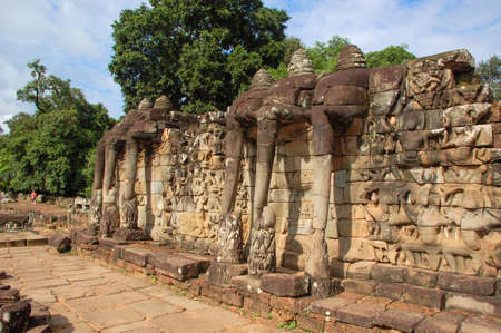 returning: Terrace of the Elephants, Terrace was used by Angkors king as a platform to view his victorious returning army, Siem reap, Cambodia
