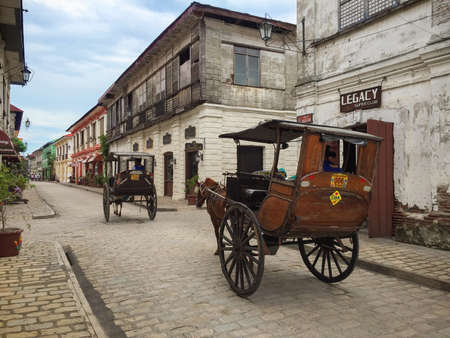 VIGAN, PHILIPPINES - JULY 25, 2015 : A Kalesa or Horse Carriage in Historic Town of Vigan.Vigan is a UNESCO World Heritage Site in that it is one of the few Spanish colonial town