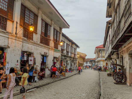 VIGAN, PHILIPPINES - July 24, 2015: The City of Vigan at twilight. It is a World Heritage Site in that it is one of the few Hispanic towns left in the Philippines. It has a population of 47,246 에디토리얼