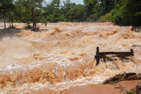 Konpapeng flood in Pakse, Laos on on 19 AUG 2007 Editoriali