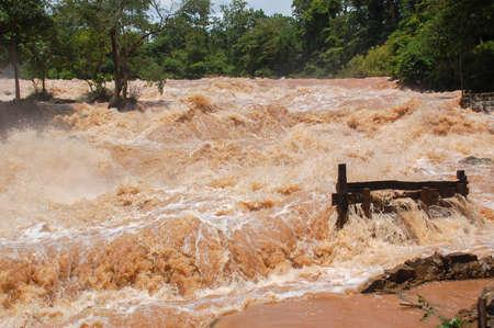 Konpapeng flood in Pakse, Laos on on 19 AUG 2007 Redactioneel