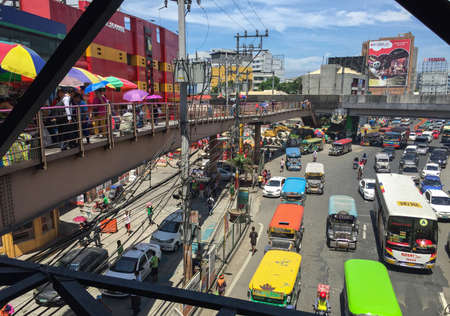 MANILA, PHILIPPINES - JULY 19, 2015 : Taft Avenue-EDSA intersection in Pasay, Manila