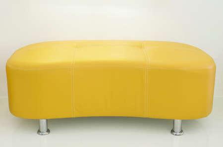 leather sofa: Yellow leather sofa