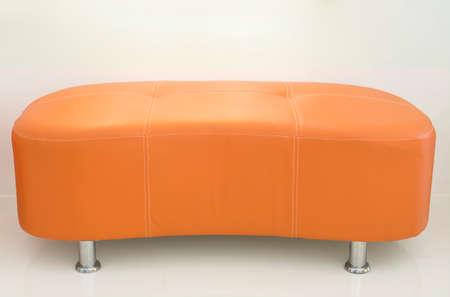leather sofa: Orange leather sofa