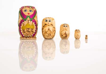 matrioshka: Matryoshka russian doll set in row Stock Photo