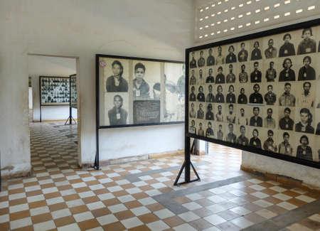 Phnom Penh, Camboya - 17 de marzo de 2015: la prisión Tuol Sleng de la escuela secundaria del Khmer Rouge S-21 se convirtió en un centro de tortura y ejecución