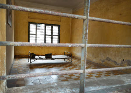 death camp: Phnom Penh, Cambodia - March 17 : Tuol Sleng prison of the Khmer Rouge high school S-21 turned into a torture and execution center iin Phnom Penh, Cambodia Editorial