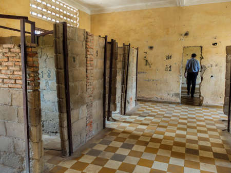 penh: Phnom Penh, Cambodia - March 17 : Tuol Sleng prison of the Khmer Rouge high school S-21 turned into a torture and execution center iin Phnom Penh, Cambodia Editorial