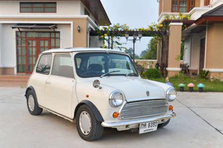 cooper: Thailand  - October 12, 2014 : White Classic Mini Cooper Stock Photo