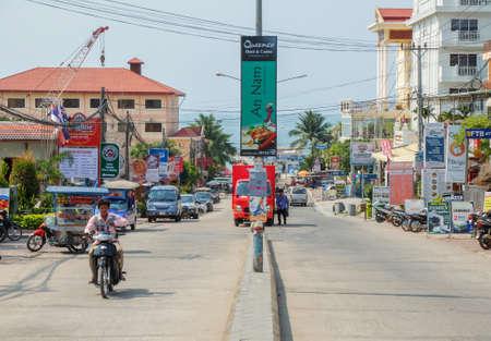 coastal city: Sihanoukville, Cambodia - Mar 19, 2015 :  Sihanoukville Downtown,  Sihanoukville  is a coastal city in Cambodia Editorial