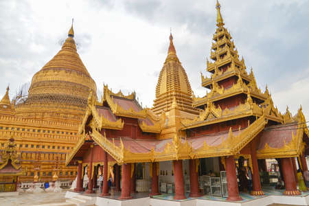 Bagan, Myanmar - April 22, 2016 : Shwezigon Pagoda in Myanmar