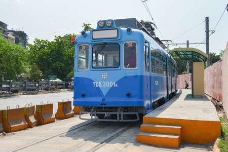 begun: Yangon, Myanmar - April 25, 2016 : Yangon Tram. begun service on 11 January 2016, using a single 50-year old tram from Hiroshima, Japan