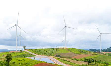 A panorama wind farm in Khao Kor, Thailand Stock Photo