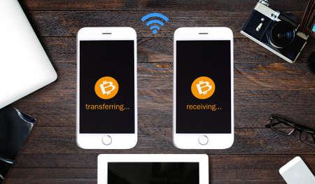 coded: Digital wallet on Smartphone, Digital money concept, coded money