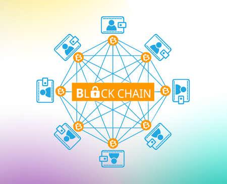블록 체인 네트워크, 암호화 된 보안 체인 개념 스톡 콘텐츠