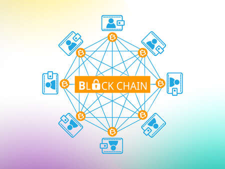 Block chain network, a cryptographically secured chain , Bitcoin concept Reklamní fotografie