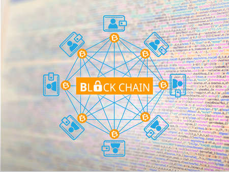Block chain network, a cryptographically secured chain , Bitcoin concept 스톡 콘텐츠