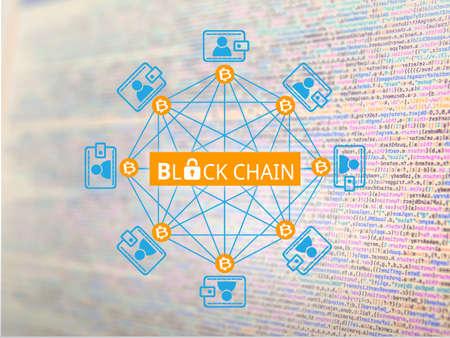 Block chain network, a cryptographically secured chain , Bitcoin concept Archivio Fotografico