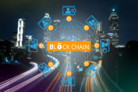 Block chain network ,  a cryptographically secured chain Stock Photo