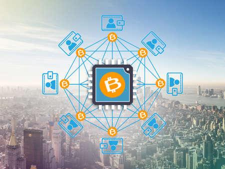 Block chain network ,  a cryptographically secured chain, Bitcoin, Digital money Archivio Fotografico