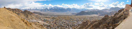 The city of Leh,  Leh city is located in the Indian Himalayas at an altitude of 3500 meters.  viewed from Leh Palace Stock Photo