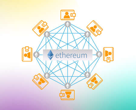 Concept of  Ethereum,  a Cryptocurrency secured chain , Digital money