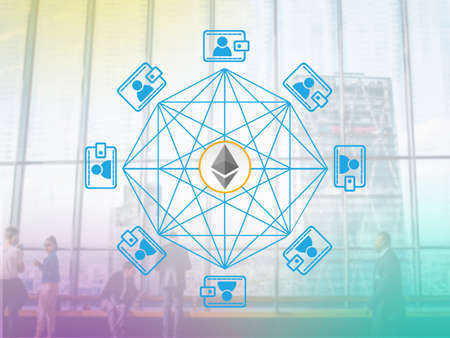 Concept of  Ethereum  a Cryptocurrency secured chain. Digital money