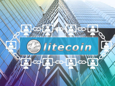 Concept of  Litecoin.  a cryptographically secured chain . Digital money Stock Photo