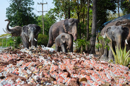 Khonkean, Thailand - April 2, 2017 : Elephant statue at Spirit house or San phra phum in Thai language, Its a shrine to the spirit that protects the general area of an establishment,  these are usually found in Southeast Asian countries (Thailand, Camb