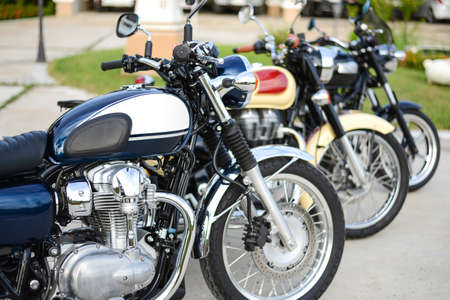 superbike: Row of Classic Motorcycle parking