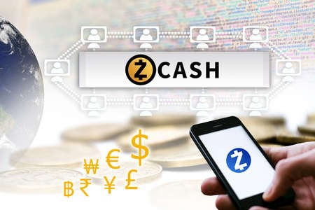 Concept of  Zcash.  a Cryptocurrency secured chain. Digital money Stock Photo
