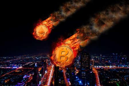 Bitcoin 및 Ethereum의 개념 가격 하락