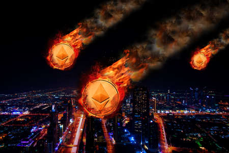 Concept of  Ethereum Price falling Stock fotó